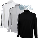 Adidas 1/4 Zip layering Top 3 Stripe French Terry Fleece For Comfort, Golf Wear