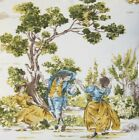 French Toile Fabric Cotton Material Yellow Print Antoinette Green Sold by Metre