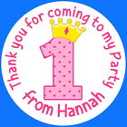 PERSONALISED GLOSS 1ST BIRTHDAY GIRL PARTY BAG, SWEET CONE STICKERS PRINCESS