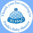 PERSONALISED GLOSS BABY SHOWER, CHRISTENING, STICKERS BLUE OR PINK BABY HAT
