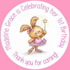 CUTE BUNNY WITH WAND PERSONALISED GLOSS BIRTHDAY PARTY BAG, SWEET CONE STICKERS