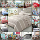 LUXURY Printed DUVET COVER SET Floral Quilt Cover Striped Bed Set - BEST QUALITY