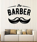 Rampart Vinyl Decal Barber Shop Salon Moustache Haircut Scissors Entry-way Decor z4743