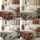 New Luxury 4pc Blocks Duvet/ Quilt Cover Bedding Sets With Fitted Sheet All Size