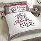 ''Mr. Right & Mrs. Always Right- His Hers Wedding Gift Bedding FREE P&P