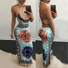 Women Chic Long Dress Halter Neck Sleeveless Drawstring Maxi Backless Dress HF