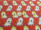 """Christmas dogs Poly Cotton Fabric, 45"""" wide. £1.95 per metre"""