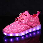 Unisex Kid's USB Charging LED Flashing Lights Shoes Lace Up Sportswear Sneakers