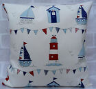Fryetts Maritime Boats & Huts Bunting Cream cushion cover - All Sizes Available