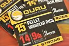 """Guru 15"""" Pellet Waggler Hooks With Bait Bands Tied to Nylon"""