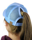 C.C Ponycap Messy High Bun Ponytail Adjustable Mesh Trucker Baseball CC Cap Hat