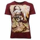 C3338 maglia uomo LOFT 1 ST. DUFFY MILITARY bordeaux t-shirt men