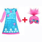 Kids Girl Fancy Dress Wig Trolls Poppy Costume Children Cosplay Party Outfit Set