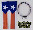 Sports Compression Arm Sleeves Baseball Puerto Rico Flag & Rope Necklace W/ #