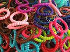 WHOLESALE 12 50 100 500 PCS SPIRAL WRIST COIL KEY CHAIN RING RANDOM COLORS