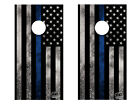 FGD Cornhole Wrap Police Thin Blue Line Design LAMINATED Vinyl Decal