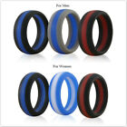 Siliringz Silicone Wedding Ring for Men/Women, Stripe Rubber Band, Pack of 3