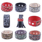 Fashion New Cuff Punk Bangle Natural stone Leather Bracelet Wrap Wristband Gift