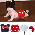 Newborn Baby Girsl Knit Crochet Big Small Minnie Mouse Costume Photo Prop Outfit