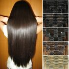 Thick Clip In Remy Human Hair Extensions Double Weft Full Head Long 200g UK H105