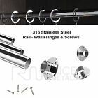MIRROR Quality WARDROBE CUPBOARD TUBE STAINLESS STEEL Includes Flanges & Screws