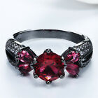 Five Red Zircon 14KT Black Gold Filled Rings Women Lady Wedding Bridal Jeweiry