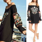 Ladies Vintage Boho Floral Embroidered OFF SHOULDER Bell sleeve MINI Dress Black