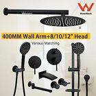 "Round 8/10/12"" Shower Head Handheld 180° Swivel Spout 400MM Wall Arm Black W"