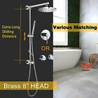 Solid Brass Shower Rail Rainfall Head Set Wall Mounted Mixer Hot Cold Taps Spout