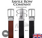 Authentic Savile Row London Men's Black & Brown Reversible Smooth Leather Belt √