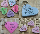 WOODEN HEART KEYRING .. ANY NAME OR WORDING .. PERSONALISED BOTH SIDES