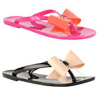 93F WOMENS FLAT JELLY SUMMER LADIES BEACH BOW FLIP FLOP SANDALS SHOES SIZE 3-8