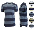 Mens T-Shirt Short Sleeve Striped Tee Washed Combed Cotton Soft...