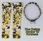 Sports Compression Arm Sleeves Yel Blk Wht Digital Camo & Rope Necklace W/ #