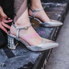 Womens Pointed Toe Ankle Strap Sandals Kitten Rhinestone Heel Pumps Shoes Summer