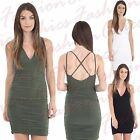 WOMEN STRAPPY CROSSOVER SLINKY CAMI LADIES RUCHED SHORT MINI PARTY BODYCON DRESS