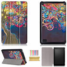 For Amazon Kindle Fire HD 8 (7th Gen) 2017 Slim Painted Folio Smart Case Cover