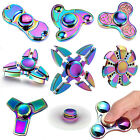 Color Rainbow Aluminum Metal Tri Hand Finger Spinner Fidget EDC Desk Toy Gyro