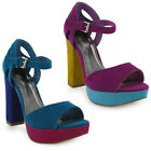 27C NEW WOMENS FAUX SUEDE PEEPTOE BLOCK HIGH HEEL LADIES PARTY SHOES SIZE 3-8 UK