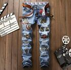 2017 New Embroidery Fashion Badge Blue Straight Slim Men's Jeans Casual Pants