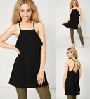 Black Square Neck Low Back wit Crossed Straps Long Cami Tunic Style Top Sz 8-14