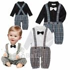 Baby Boy Wedding Christening Tuxedo Formal Suit Outfit Clothes Romper One Piece