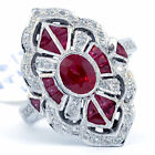 silver ruby - Luxurious 925 Silver Red Ruby Gemstone Ring Wedding Engagement Jewelry Size 6-10