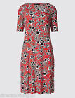 NEW LADIES M&S Marks And Spencer FLORAL SKATER DRESS RED sz 8 10 12 14 16 18 20