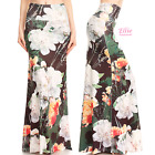 Floral Black Sublimation high waist fold over maxi long skirt (S/M/L/XL)