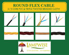 Round Flex Cable - 2 or 3 Core,  PVC or Triple Twisted Braided PRICED PER METRE