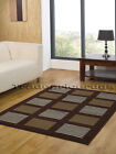 SMALL - EXTRA LARGE DARK BROWN BEIGE CREAM BLOCKS GRID NON-SHED MODERN RUG MATS