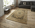 SMALL -X EXTRA LARGE BEIGE TRADITIONAL CLASSIC THICK DENSE LUXURY WOOL-LOOK RUGS