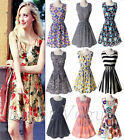 S-XXL Women Chiffon New Brand Casual Print Sleeveless Dress Summer Beach Dresses