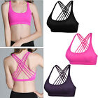 Top Soft Women's Wirefree Padded Strappy Criss Cross Back Yoga Sports Bra M L XL